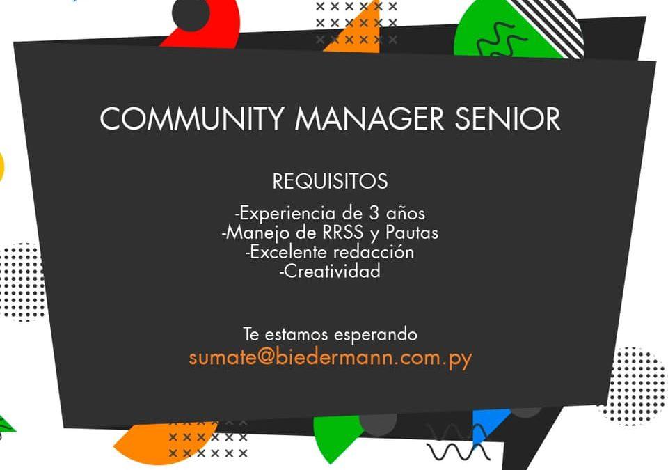 Oportunidad laboral: Biedermann está seleccionando Community Manager Senior